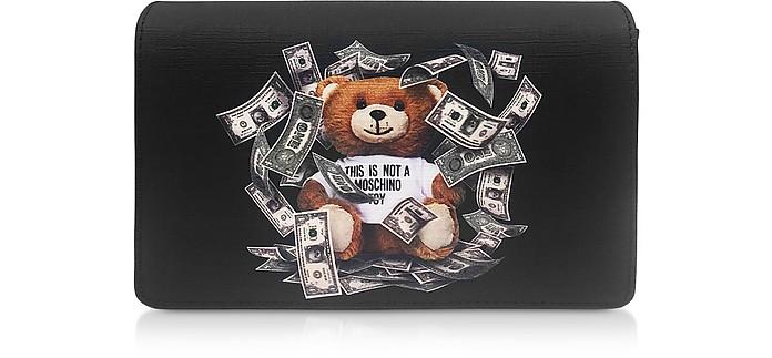 Black Dollar Teddy Bear Patch Shoulder Bag - Moschino