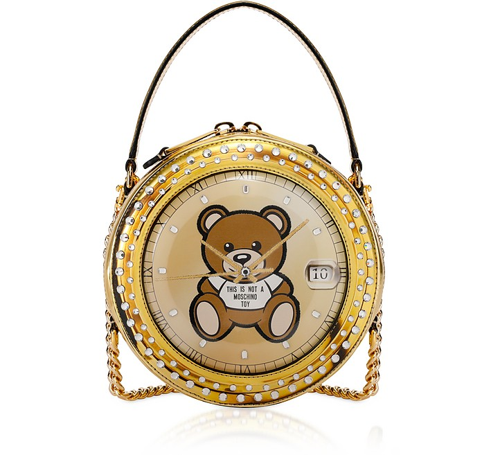 Clock w/Moschino Toy Gold Round Bag - Moschino