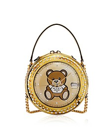 Clock w/Moschino Toy Gold Round Bag