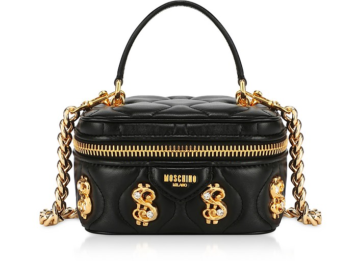 Black Dollars Bauletto Bag w/Nappa - Moschino
