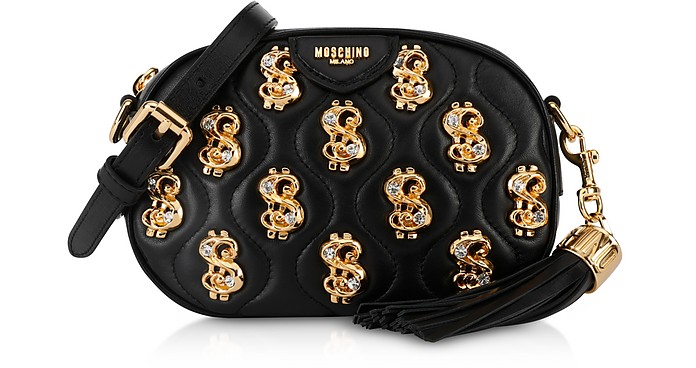Black Dollars and Crystals Crossbody Bag w/ Tassel - Moschino
