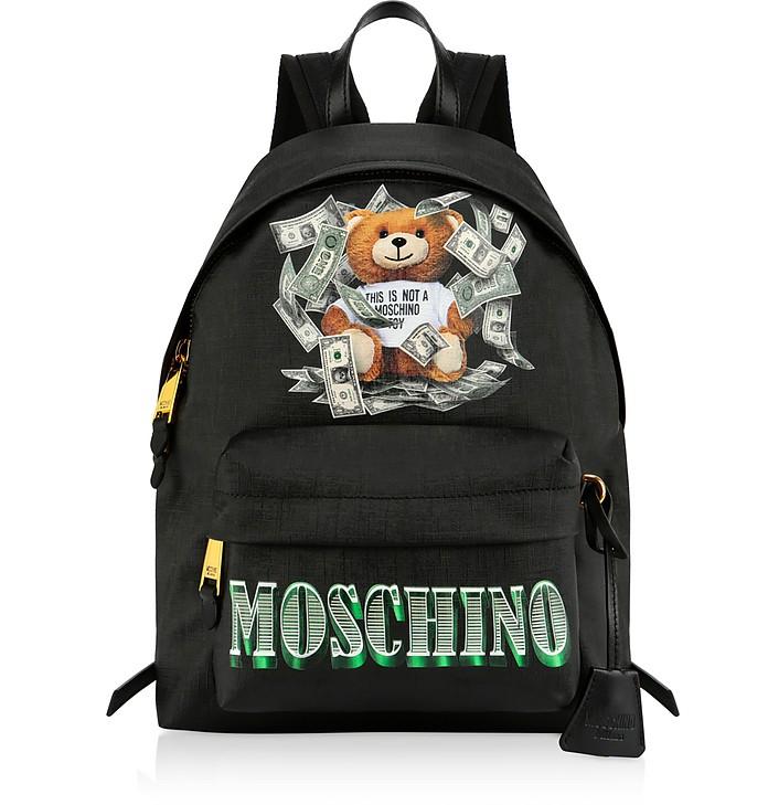 Dollar Teddy Bear Zaino Nero con Logo - Moschino