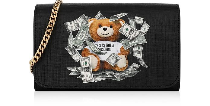 Dollar Teddy Bear Black Wallet Clutch - Moschino