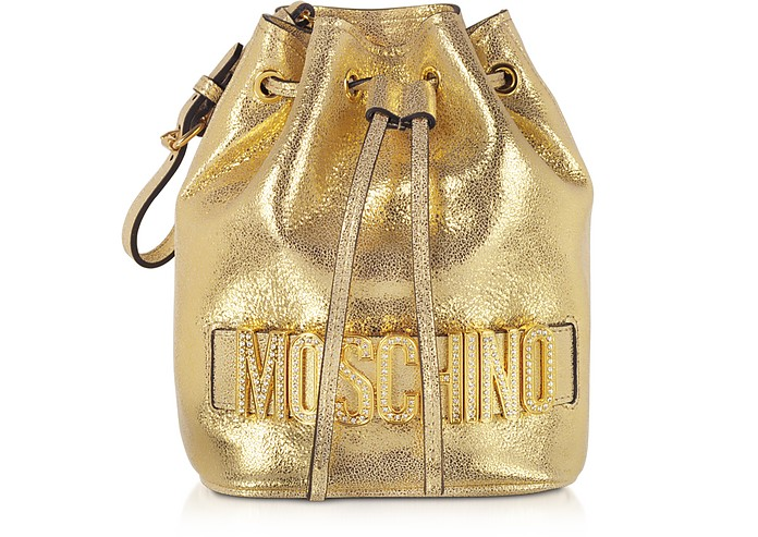 Gold Bucket Bag w/ Crystal Signature - Moschino