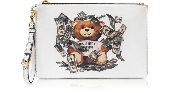 Dollar Teddy Bear White Clutch - Moschino