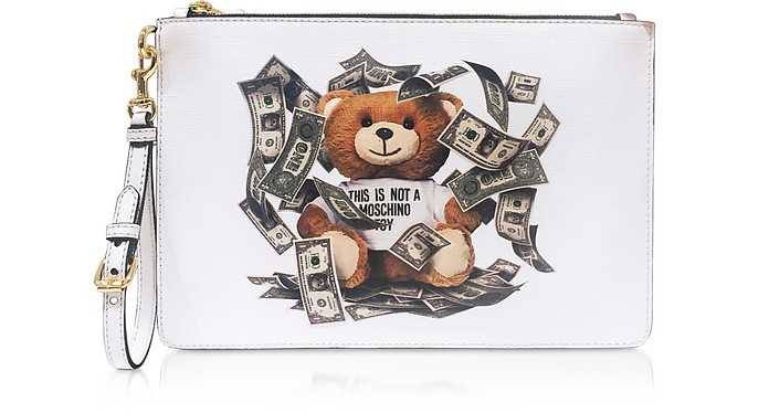 White Clutch w/ Money Teddy Bear Patch - Moschino