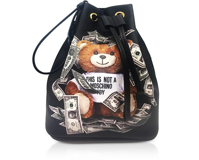 Dollar Teddy Bear Black Bucket Bag - Moschino