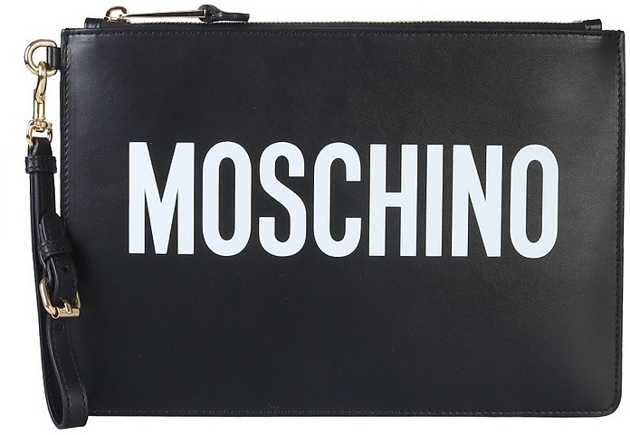 Clutch With Logo Print - Moschino