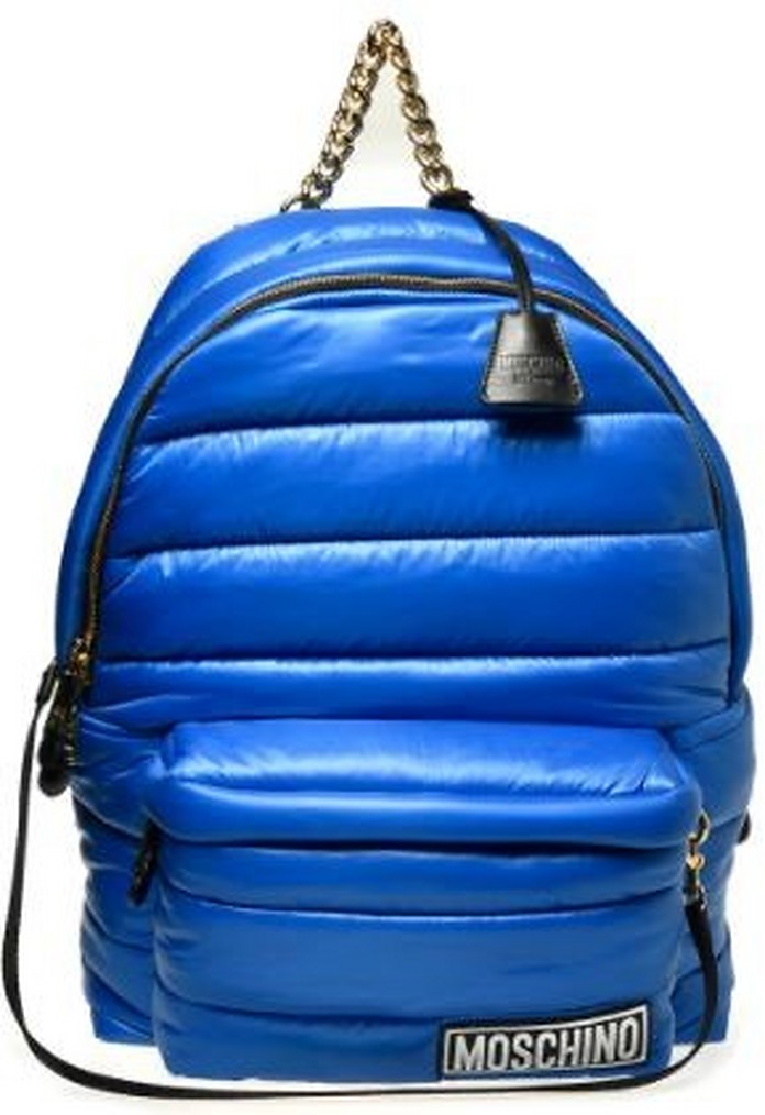 Blue Quilted Nylon Backpack - Moschino