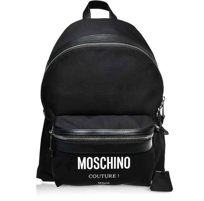 Black Nylon Signature Backpack - Moschino