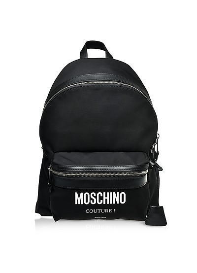 Black Nylon Signature Backpack - Moschino