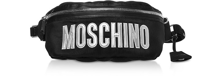 Black Nylon Signature Belt Bag - Moschino