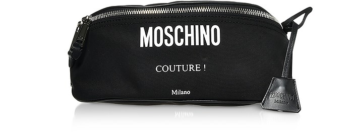 Black Nylon Signature Belt Bag w/Nickel-Tone Logo - Moschino