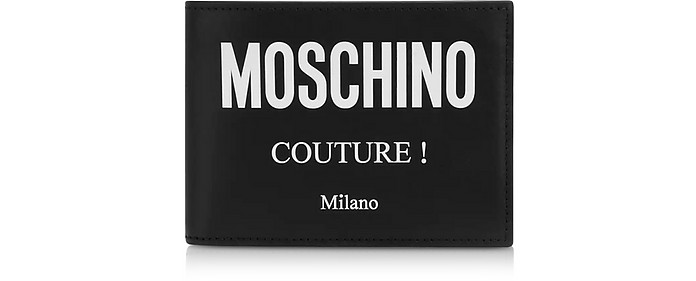 Couture Signature Portefeuille en Cuir Noir - Moschino
