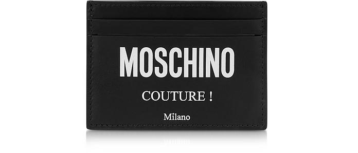Couture Signature Porte-Cartes en Cuir Noir - Moschino