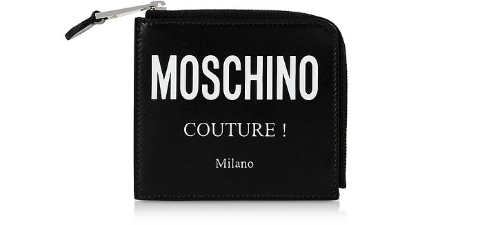 Black Signature Zip Around Coin Purse - Moschino