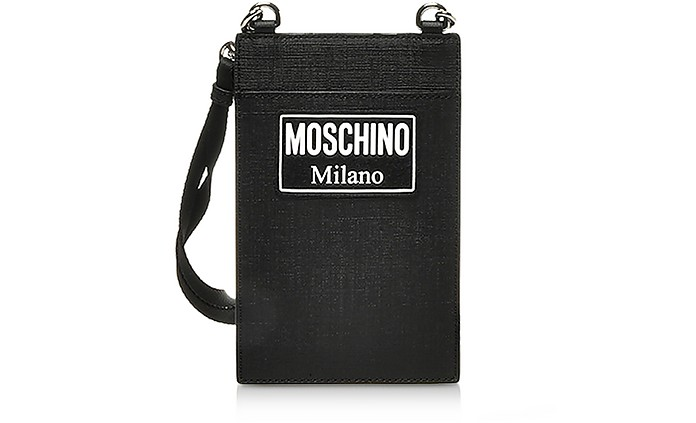 Black Signature Card Holder w/Strap - Moschino
