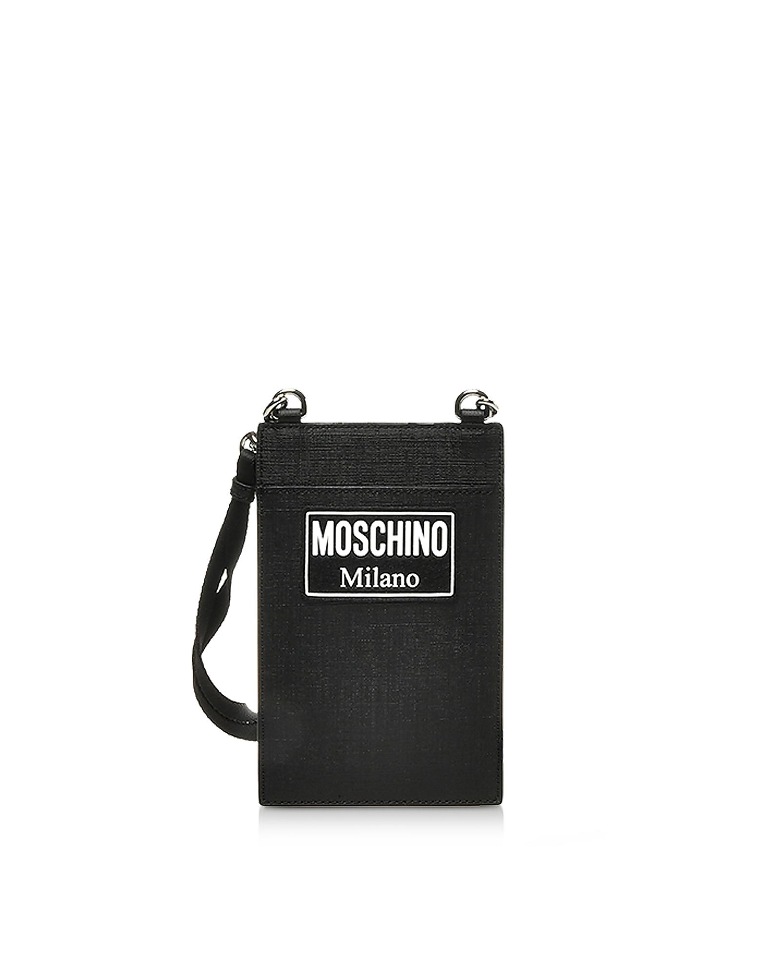Moschino Accessories BLACK SIGNATURE CARD HOLDER W/STRAP