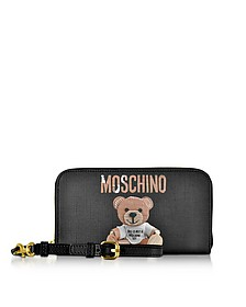 Teddy Bear Saffiano Leather Wallet w/Detachable Wristlet - Moschino