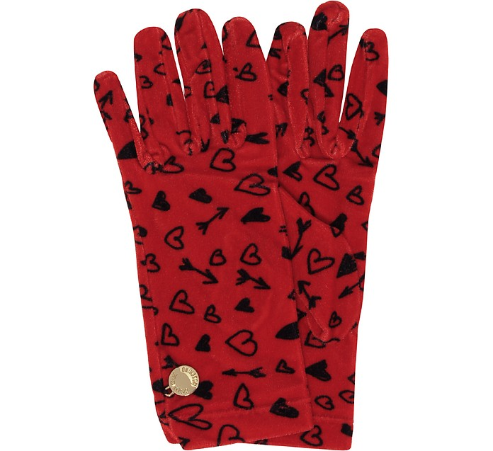 Heart Printed Chenille Gloves - Moschino