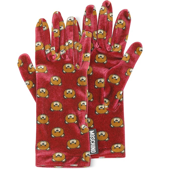 Teddy Bear Printed Velvet Gloves - Moschino