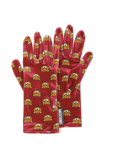 Teddy Bear Printed Velvet Gloves - Moschino