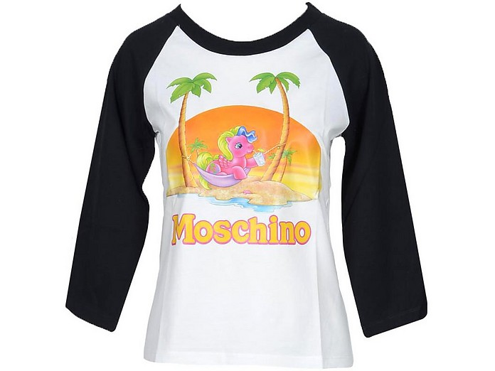 My Little Pony Print Black and White Cotton Women's Long Sleeve T-Shirt - Moschino / モスキーノ