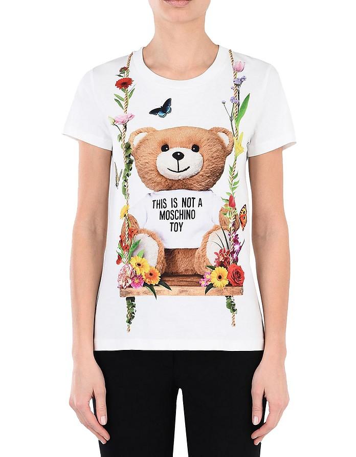 Teddy Bear  Print White Cotton Women's T-Shirt - Moschino