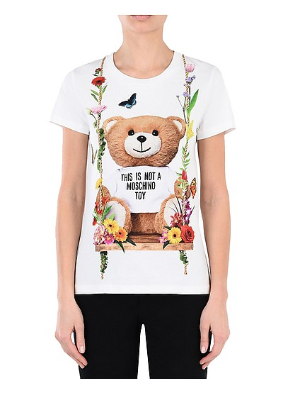 T-Shirt in Cotone Bianco con Logo Teddy Bear - Moschino