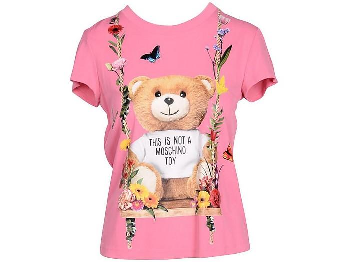 Floral Teddy Bear Print Pink Viscose Women's T-Shirt - Moschino