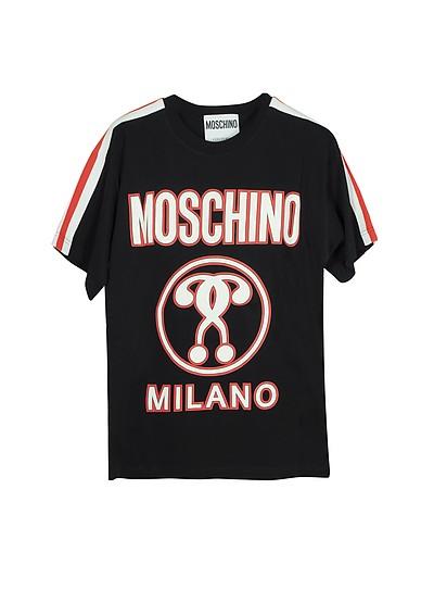 T-Shirt da Donna in Cotone Nero con Logo - Moschino