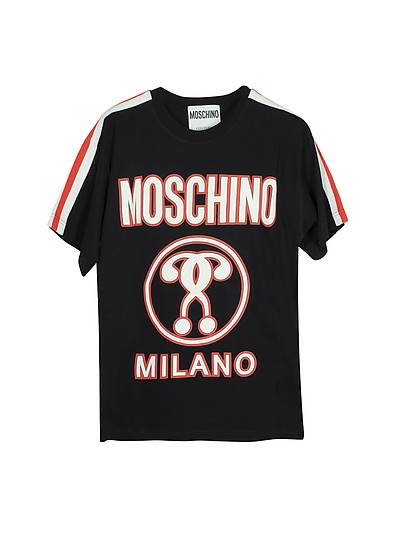 Black Signature Print Cotton Oversized Women's T-Shirt - Moschino