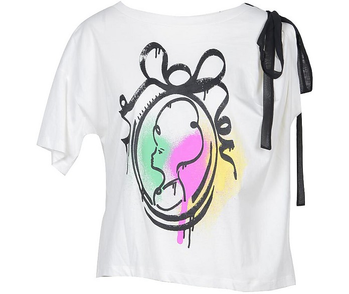 Pop Printed Cotton Moschino Boutique Women's T-Shirt w/Bow - Moschino