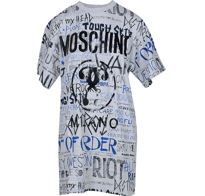 Melange Gray Signature Printed Cotton Women's Long T-Shirt - Moschino