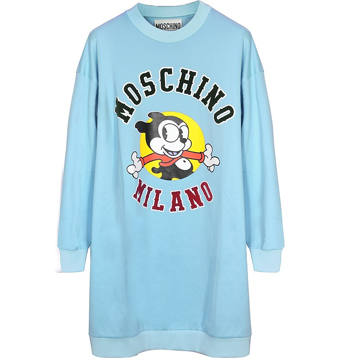 Sky Blue Felix Printed Synthetic Long Sweater - Moschino