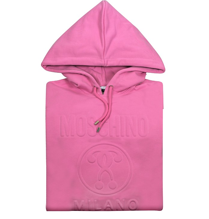 Candy Pink Signature Cotton Hooded Long Sweater - Moschino
