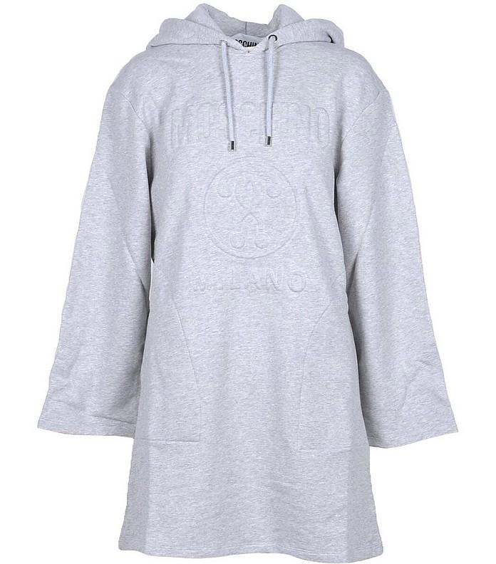 Moschino Melange Gray Signature Cotton Hooded Long Sweatshirt