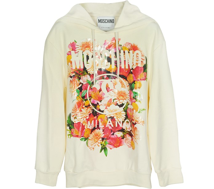 Floral Print Ivory Cotton Hooded Oversized Sweater - Moschino