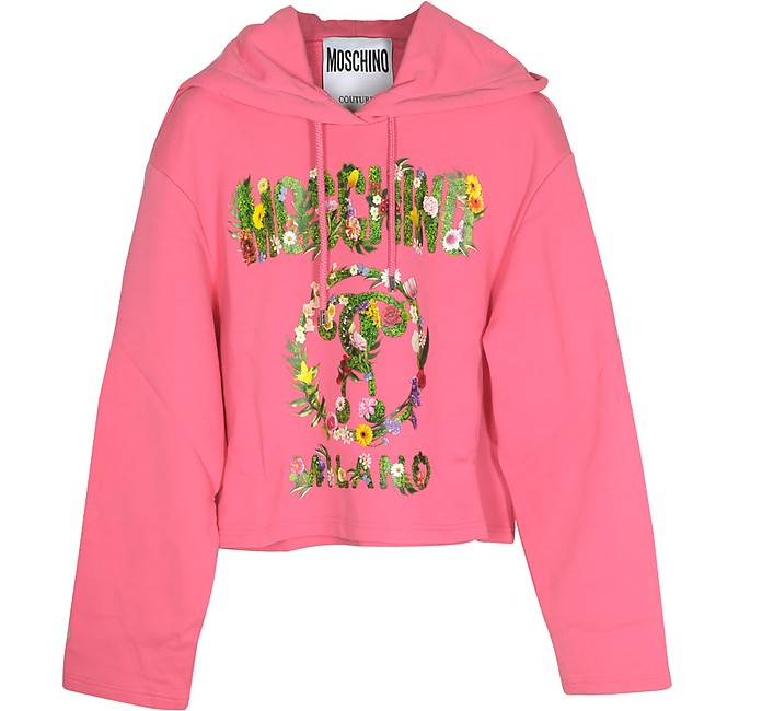 Pink Floral Signature Print Cotton Cropped Sweater - Moschino