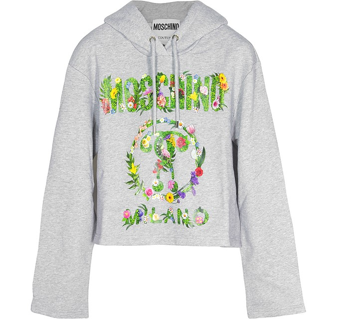 Melange Gray Floral Signature Print Cotton Cropped Sweater - Moschino