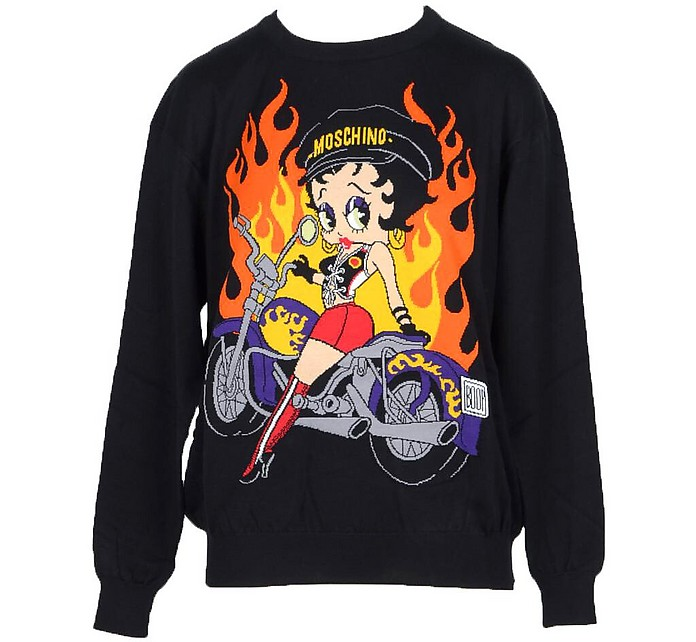 Moschino Black Knitted Cotton Long Sleeve Women's Sweater