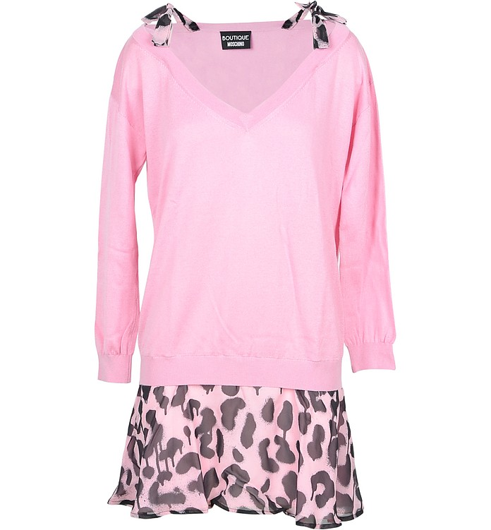 Pink Cotton Women's Sweater w/Leo Print Top - Moschino