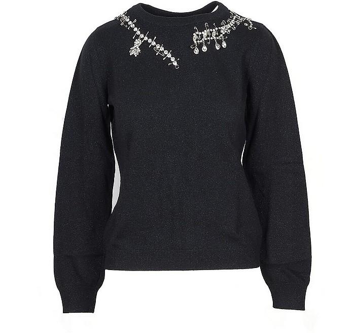 Black Lurex Women's Sweater w/Crystals - Moschino