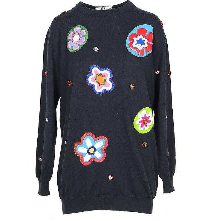 Black Cotton Women's Long Sweater - Moschino