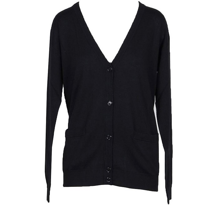 Solid Black Wool Women's Cardigan Sweater - Moschino