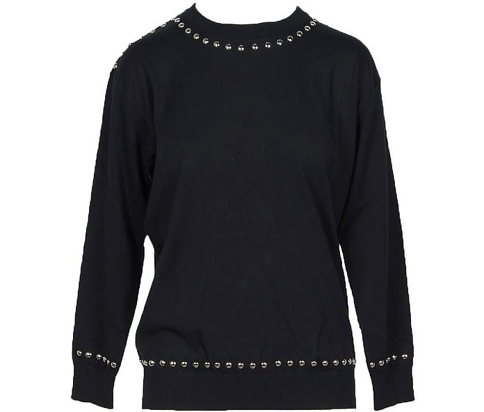 Solid Black Cotton Women's Sweater w/Black Pearls - Moschino