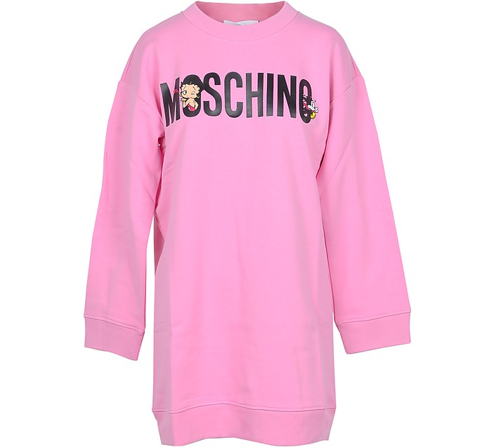 Pink  Signature Cotton Long Sweater - Moschino