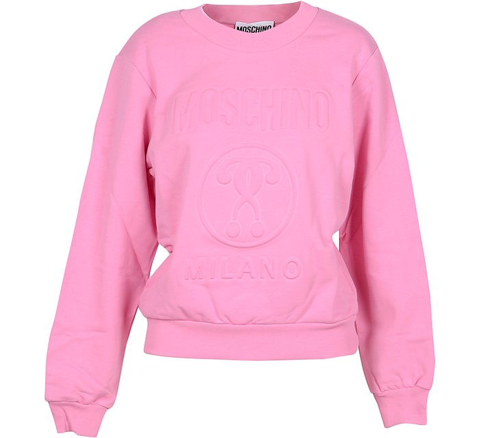 Pink Cotton Embossed Signature Women's Sweater - Moschino 摩斯基诺