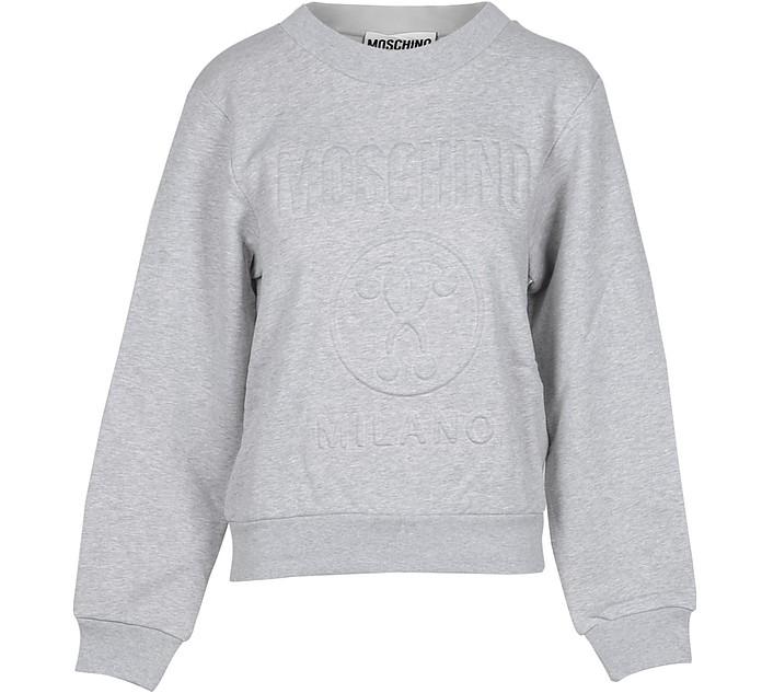 Gray Cotton Embossed Signature Women's Sweater - Moschino