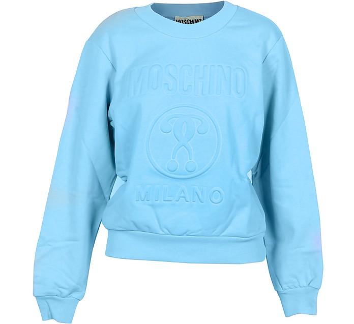 Light Blue Cotton Embossed Signature Women's Sweater - Moschino 摩斯基诺